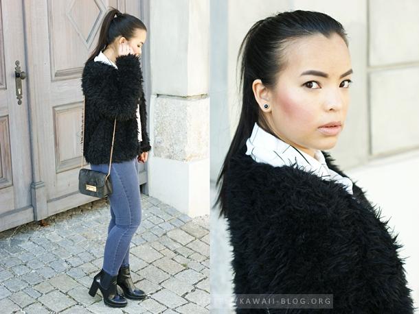 Outfit schwarze Plüschjacke