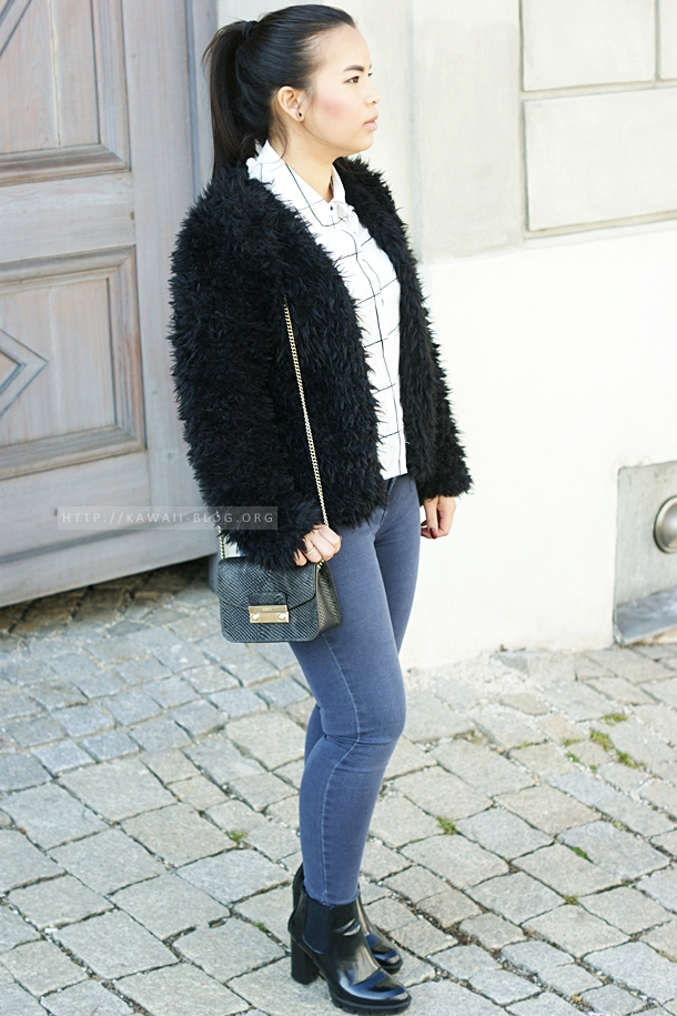 Outfit mit Skinny Jeans und Felljacke