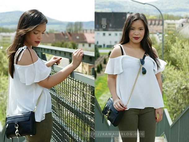 white off shoulder top & khaki skinny jeans