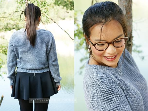Herbstlook Pullover und Rock