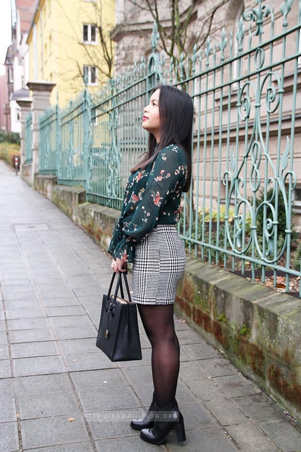 Outfit mit Tweed Rock