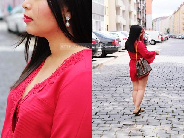 Outfit mit rotem Jumpsuit